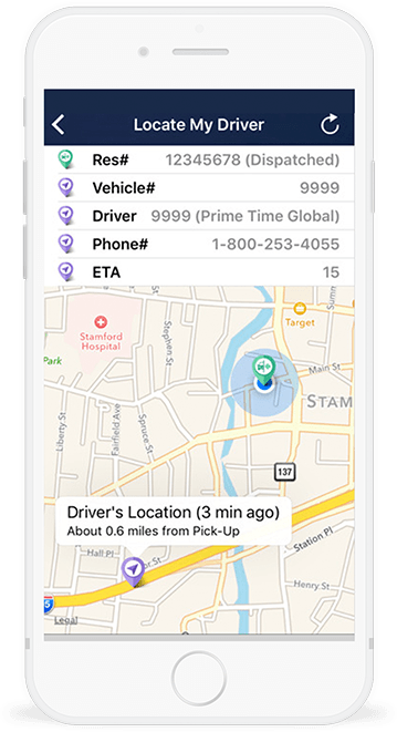 Get an instant snapshot of your driver's location, contact info and ETA